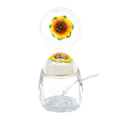 Acrylic Jam Pot with Honey Bee Sunflower Lid